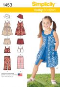 1453 Simplicity Pattern: Child's Dress, Top, Trousers or Shorts and Hat